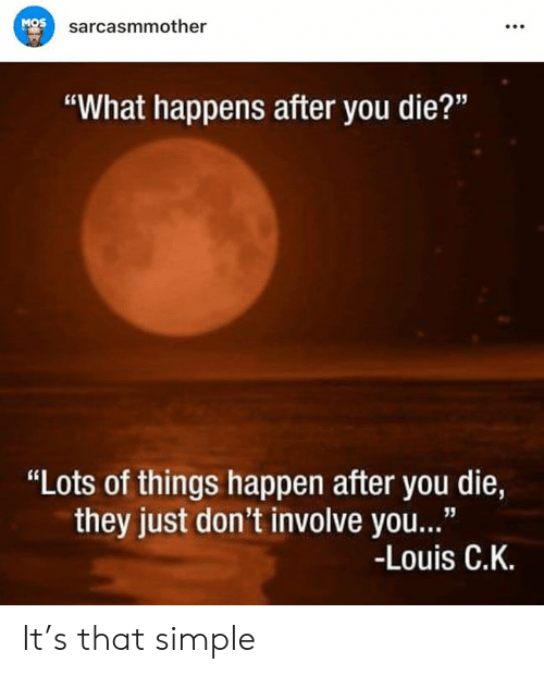 "Memes, 🤖, and Simple: MOS  sarcasmmother  ""What happens after you die?""  ""Lots of things happen after you die,  they just don't involve you...""  -Louis C.K. It's that simple"