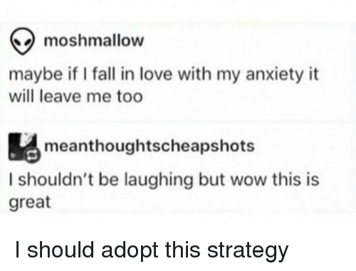 Fall, Love, and Wow: moshmallow  maybe if I fall in love with my anxiety it  will leave me too  meanthoughtscheapshots  I shouldn't be laughing but wow this is  great I should adopt this strategy