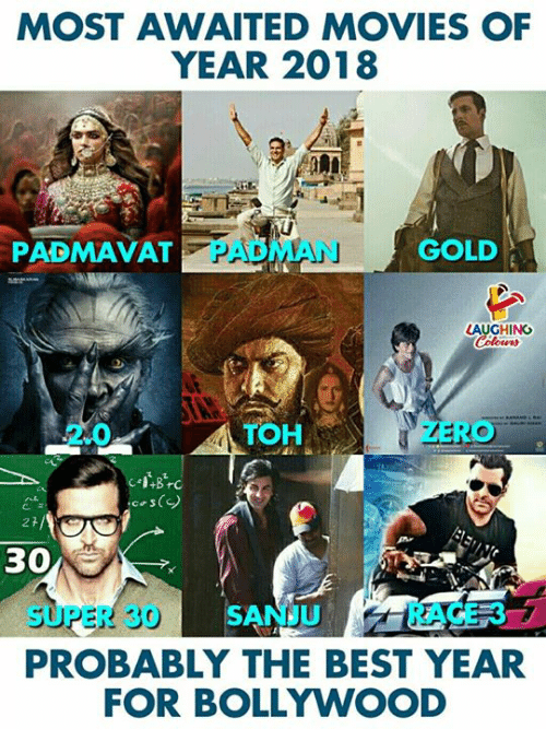 Bollywood: MOST AWAITED MOVIES OF  YEAR 2018  PADMAVAT  PADMAN  GOLD  LAUGHING  2.0  TOH  cos()  30  SUPER 30 SANJRACE 37  PROBABLY THE BEST YEAR  FOR BOLLYWOOD