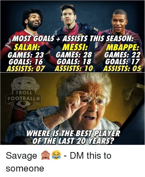 Goals, Memes, and Savage: MOST GOALS ASSISTS THIS SEASON:  MESSI:  GAMES: 23 GAMES: 28 GAMES: 22  GOALS: 16 GOALS: 18 GOALS 17  ASSISTS: 07 ASSISTS 10 ASSISTS: 05  SALAH:  /MBAPPE:  TROLL  FOOTBALLO  WHERE IS THE BEST PLAYER  OF THE LAST 20 YEARS? Savage 🙈😂 - DM this to someone