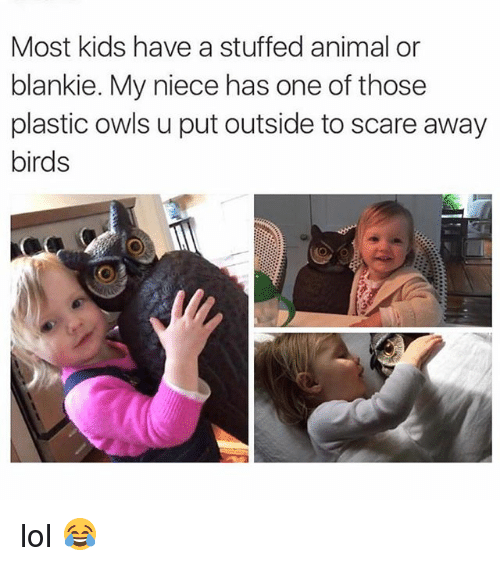 Lol, Memes, and Scare: Most kids have a stuffed animal or  blankie. My niece has one of those  plastic owls u put outside to scare away  birds lol 😂