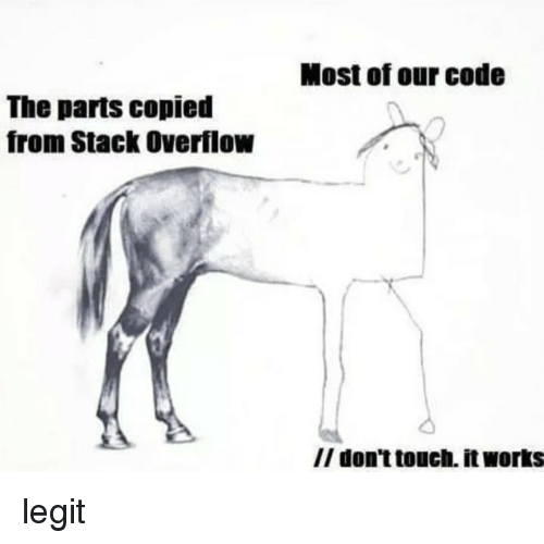Code, Stack, and Stack Overflow: Most of our code  The parts copied  from Stack Overflow  II don't touch. it works legit
