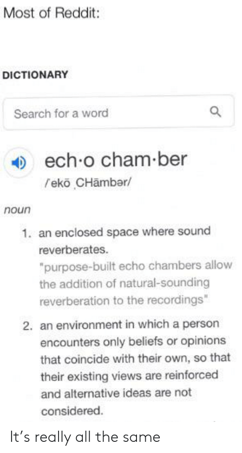 Most of Reddit DICTIONARY Search for a Word Ech O Cham Ber L