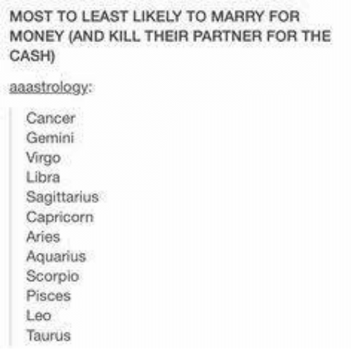 MOST TO LEAST LIKELY TO MARRY FOR MONEY AND KILL THEIR