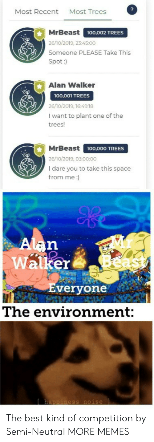 neutral: Most Trees  Most Recent  MrBeast  100,002 TREES  26/10/2019, 23:45:00  Someone PLEASE Take This  Spot:)  Alan Walker  100,001 TREES  26/10/2019, 16:4918  I want to plant one of the  trees!  MrBeast  100,000 TREES  26/10/2019, 03:00:00  I dare you to take this space  from me:  Alan  Walker  Everyone  The environment:  happiness noise The best kind of competition by Semi-Neutral MORE MEMES