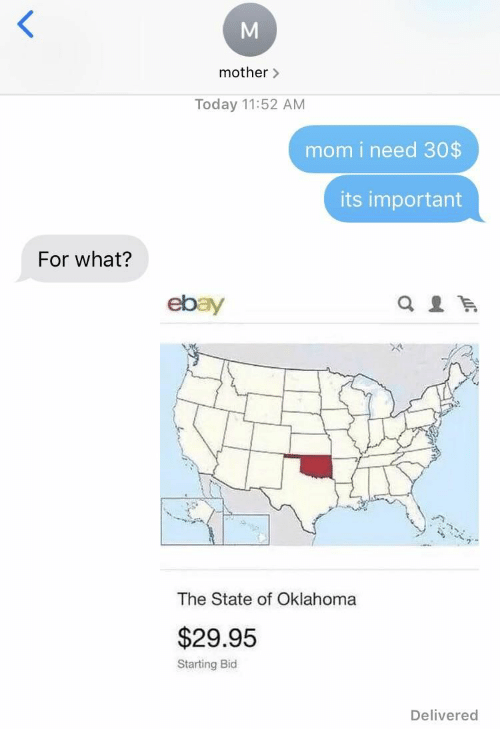 eBay, Oklahoma, and Today: mother>  Today 11:52 AM  mom i need 30$  its important  For what?  ebay  The State of Oklahoma  $29.95  Starting Bid  Delivered