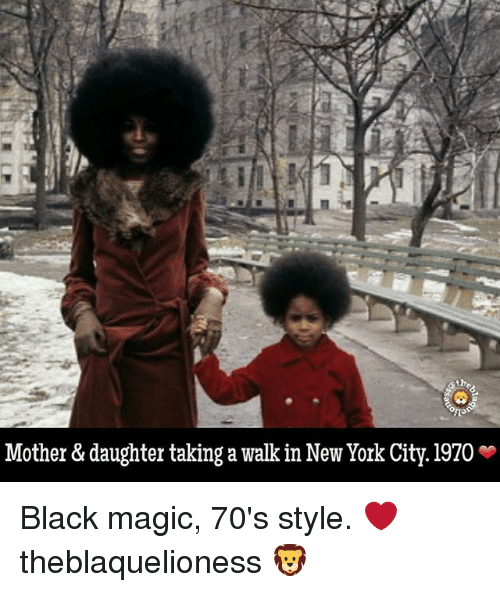 Magicant: Mother & daughter taking a walk in New York City. 1970 * Black magic, 70's style. ❤ theblaquelioness 🦁