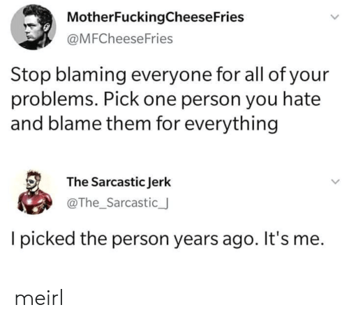 sarcastic: MotherFuckingCheese Fries  @MFCheeseFries  Stop blaming everyone for all of your  problems. Pick one person you hate  and blame them for everything  The Sarcastic Jerk  @The_Sarcastic_  picked the person years ago. It's me. meirl