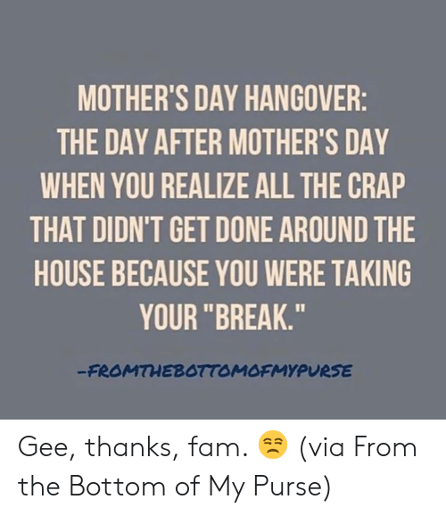 "Mother's Day: MOTHER'S DAY HANGOVER  THE DAY AFTER MOTHER'S DAY  WHEN YOU REALIZE ALL THE CRAP  THAT DIDN'T GET DONE AROUND THE  HOUSE BECAUSE YOU WERE TAKING  YOUR ""BREAK.""  FROMTHEBOTTOMOFMYPURSE Gee, thanks, fam. 😒  (via From the Bottom of My Purse)"