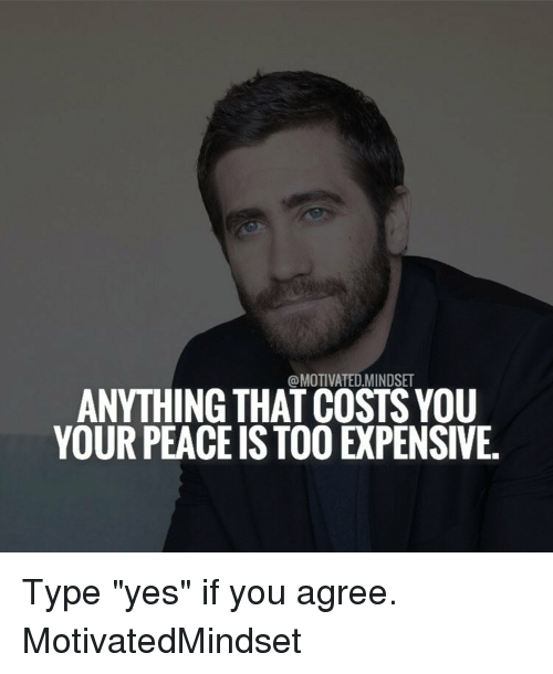 """Memes, Peace, and 🤖: @MOTIVATED MINDSET  ANYTHING THAT COSTSYOU  YOUR PEACE IS TOO EPENSIVE. Type """"yes"""" if you agree. MotivatedMindset"""