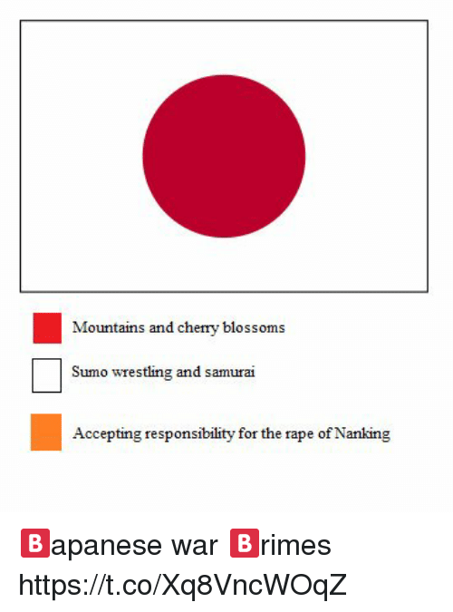 sumo: Mountains and cherry blosso  ms  Sumo wrestling and samura  Accepting responsibility for the rape of Nanking 🅱️apanese war 🅱️rimes https://t.co/Xq8VncWOqZ