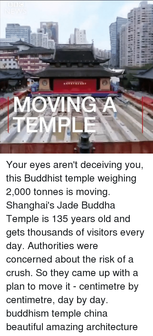 Beautiful, Crush, and Memes: MOVINGA  EMPLE Your eyes aren't deceiving you, this Buddhist temple weighing 2,000 tonnes is moving. Shanghai's Jade Buddha Temple is 135 years old and gets thousands of visitors every day. Authorities were concerned about the risk of a crush. So they came up with a plan to move it - centimetre by centimetre, day by day. buddhism temple china beautiful amazing architecture