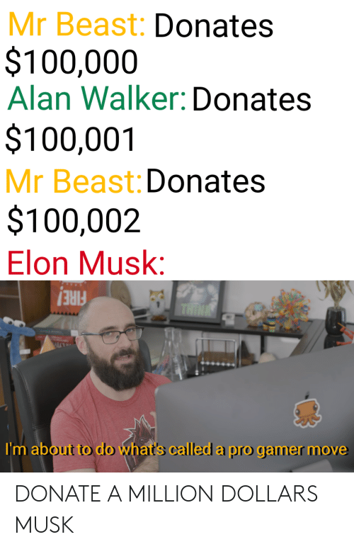 Pro Gamer: Mr Beast: Donates  $100,000  Alan Walker: Donates  $100,001  Mr Beast: Donates  $100,002  Elon Musk:  FIRE!  I'm about to do what's called a pro gamer move DONATE A MILLION DOLLARS MUSK