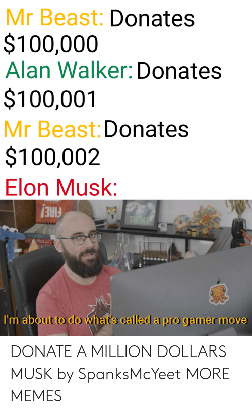 Pro Gamer: Mr Beast: Donates  $100,000  Alan Walker: Donates  $100,001  Mr Beast: Donates  $100,002  Elon Musk:  FIRE!  I'm about to do what's called a pro gamer move DONATE A MILLION DOLLARS MUSK by SpanksMcYeet MORE MEMES