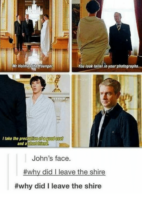 mr holmes: Mr Holmes Younger  You look taller in your photographs.  I take the precaut  10000  coat  and  a  shot trend  John's face.  #why did I leave the shire  #why did I leave the shire