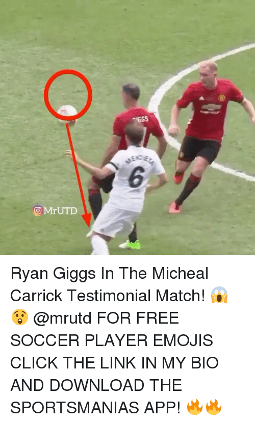 Giggs: Mr UTD  IGGS Ryan Giggs In The Micheal Carrick Testimonial Match! 😱😲 @mrutd FOR FREE SOCCER PLAYER EMOJIS CLICK THE LINK IN MY BIO AND DOWNLOAD THE SPORTSMANIAS APP! 🔥🔥