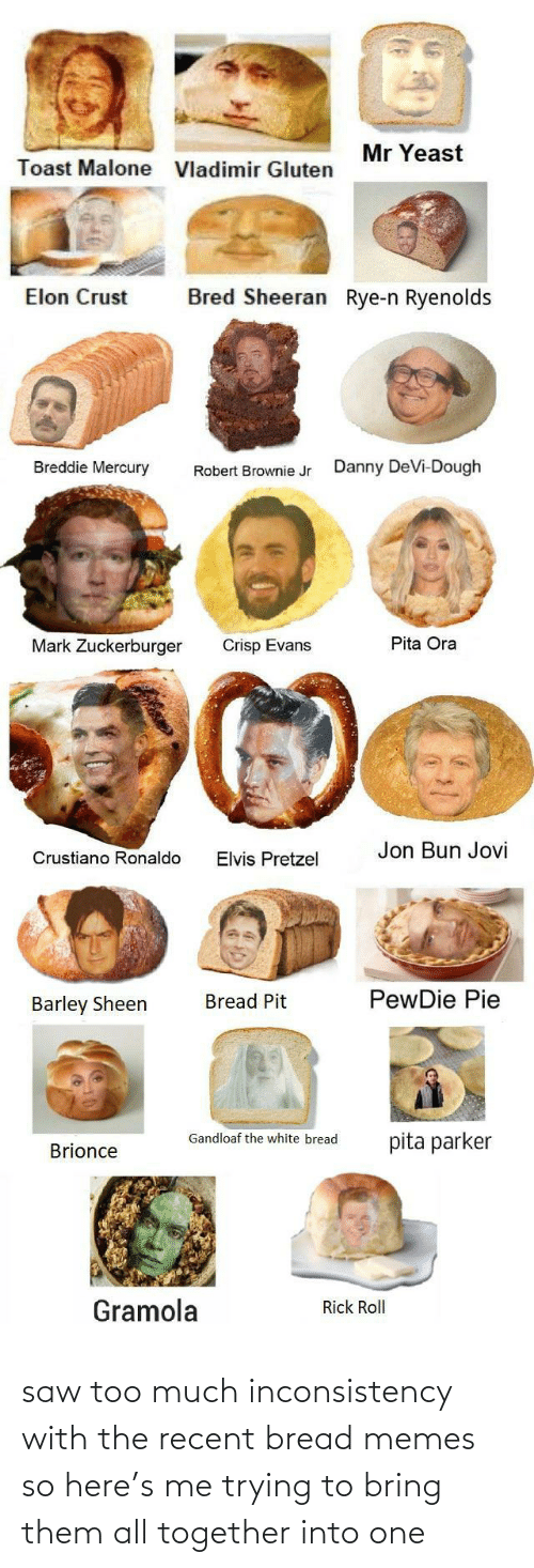 Gluten: Mr Yeast  Toast Malone  Vladimir Gluten  Bred Sheeran Rye-n Ryenolds  Elon Crust  Breddie Mercury  Danny DeVi-Dough  Robert Brownie Jr  Pita Ora  Mark Zuckerburger  Crisp Evans  Jon Bun Jovi  Crustiano Ronaldo  Elvis Pretzel  PewDie Pie  Bread Pit  Barley Sheen  Gandloaf the white bread  pita parker  Brionce  Gramola  Rick Roll saw too much inconsistency with the recent bread memes so here's me trying to bring them all together into one