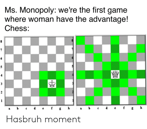 Monopoly: Ms. Monopoly: we're the first game  where woman have the advantage!  Chess:  8  6  5  3  2  1  ef  d  h  b  gh  f  C  а  а Hasbruh moment