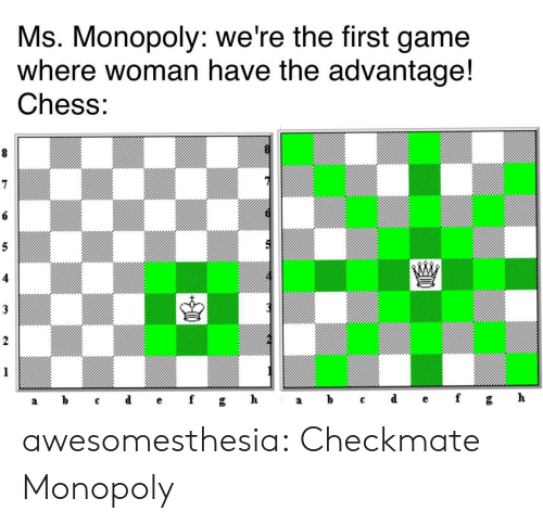 Monopoly: Ms. Monopoly: we're the first game  where woman have the advantage!  Chess:  8  6  5  3  2  1  ef  d  h  b  gh  f  C  а  а awesomesthesia:  Checkmate Monopoly