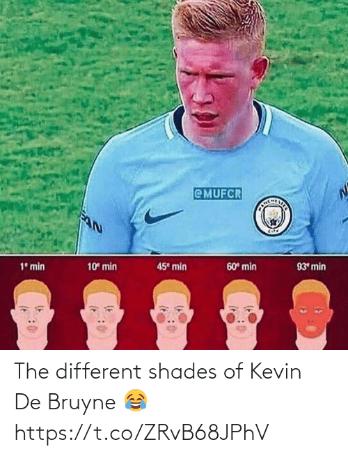 shades: @MUFCR  CHLSTER  45 min  10 min  60 min  93 min  1° min The different shades of Kevin De Bruyne 😂 https://t.co/ZRvB68JPhV