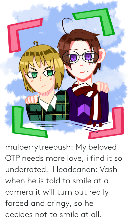 Love, Target, and Tumblr: mulberrytreebush:  My beloved OTP needs more love, i find it so underrated! Headcanon: Vash when he is told to smile at a camera it will turn out really forced and cringy, so he decides not to smile at all.