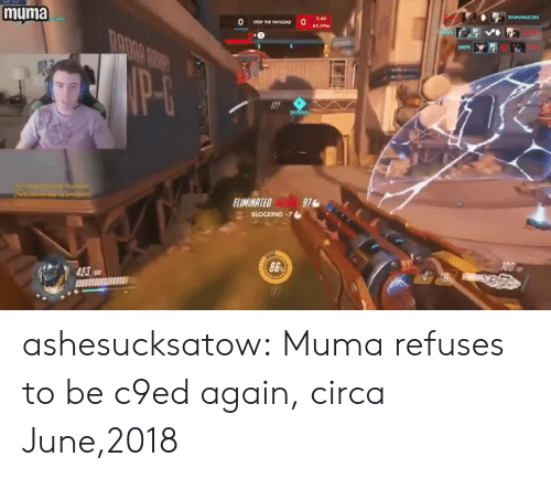 eps: muma  2.40  EPS  ELIMINATED  971  86 ashesucksatow:  Muma refuses to be c9ed again, circa June,2018