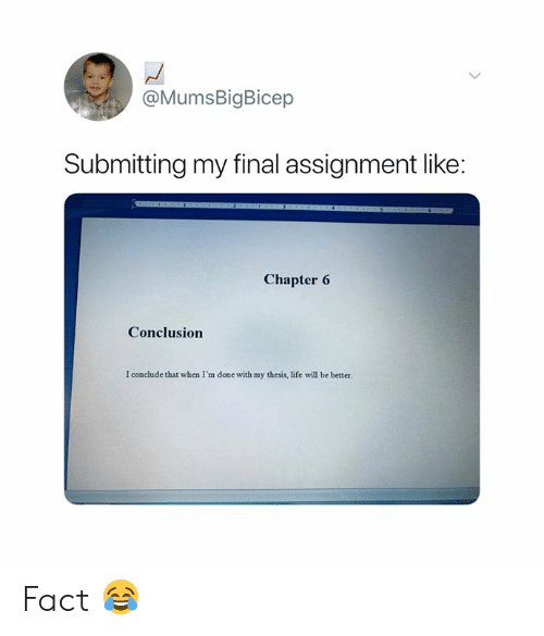 Life, Will, and Thesis: @MumsBigBicep  Submitting my final assignment like:  Chapter 6  Conclusion  I conclude that when I'm done with my thesis, life will be better. Fact 😂