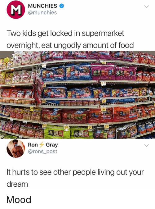 People Living: MUNCHIES  @munchies  Two kids get locked in supermarket  overnight, eat ungodly amount of food  Flavor Me  59  PARENTS  Ron Gray  @rons_post  It hurts to see other people living out your  dream Mood