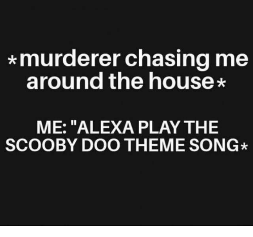 """Murderer: *murderer chasing me  around the house  ME: """"ALEXA PLAY THE  SCOOBY DOO THEME SONG"""