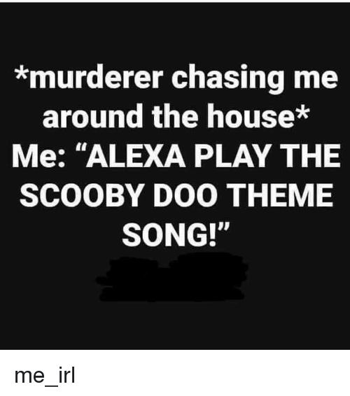 """Murderer: *murderer chasing me  around the house*  Me: """"ALEXA PLAY THE  SCOOBY DOO THEME  SONG!"""" me_irl"""