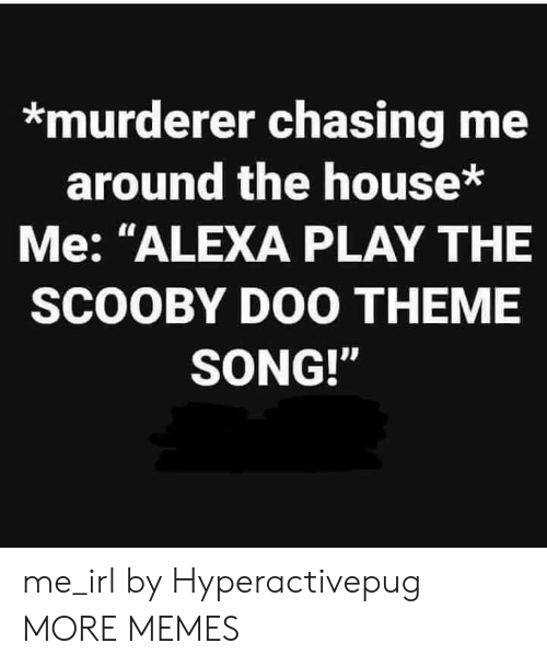 """Dank, Memes, and Scooby Doo: *murderer chasing me  around the house*  Me: """"ALEXA PLAY THE  SCOOBY DOO THEME  SONG!"""" me_irl by Hyperactivepug MORE MEMES"""
