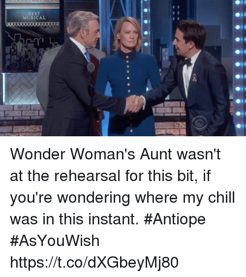 rti: MUSICAL  RTI Wonder Woman's Aunt wasn't at the rehearsal for this bit, if you're wondering where my chill was in this instant. #Antiope #AsYouWish https://t.co/dXGbeyMj80