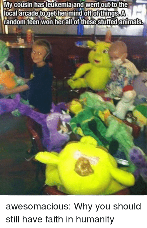 arcade: Mv cousin hasleukemia and went out to the  local arcade toget her mind off of things.A  random teen won herallof these stuffed antmals awesomacious:  Why you should still have faith in humanity