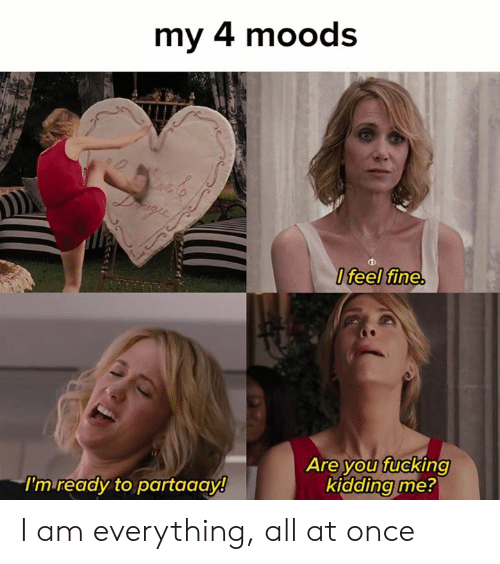 Moods: my 4 moods  Ifeel fine.  Are you fucking  kidding me?  I'm ready to partaaay! I am everything, all at once