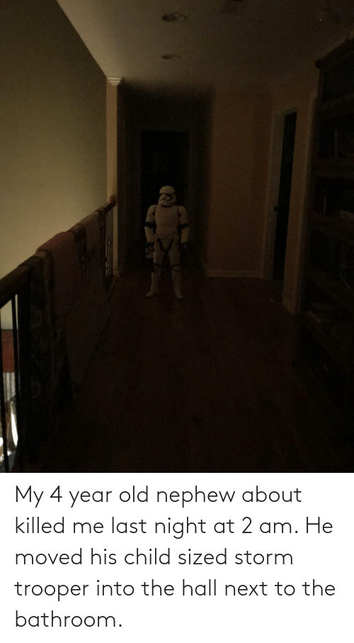 Killed: My 4 year old nephew about killed me last night at 2 am. He moved his child sized storm trooper into the hall next to the bathroom.