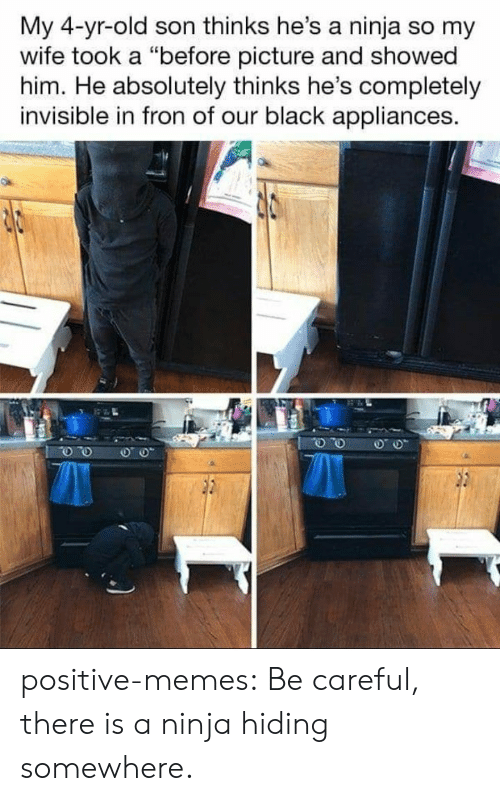 """Fron: My 4-yr-old son thinks he's a ninja so my  wife took a """"before picture and showed  him. He absolutely thinks he's completely  invisible in fron of our black appliances. positive-memes:  Be careful, there is a ninja hiding somewhere."""