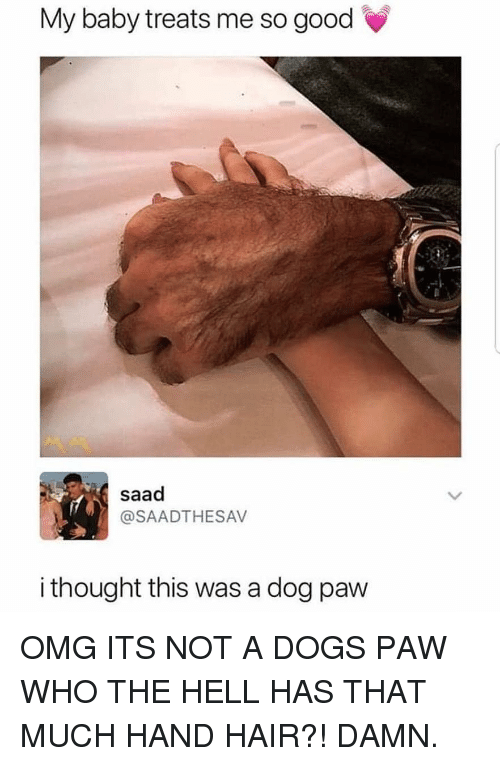Dogs, Funny, and Omg: My baby treats me so good  saad  @SAADTHESAV  i thought this was a dog paw OMG ITS NOT A DOGS PAW WHO THE HELL HAS THAT MUCH HAND HAIR?! DAMN.
