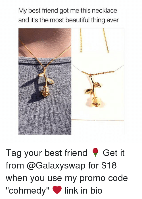 """Cohmedy: My best friend got me this necklace  and it's the most beautiful thing ever Tag your best friend 🌹 Get it from @Galaxyswap for $18 when you use my promo code """"cohmedy"""" ❤️ link in bio"""