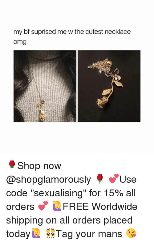"""Sexualising: my bf suprised me w the cutest necklace  omg  R. 🌹Shop now @shopglamorously 🌹 💕Use code """"sexualising"""" for 15% all orders 💕 🙋FREE Worldwide shipping on all orders placed today🙋 👯Tag your mans 😘"""