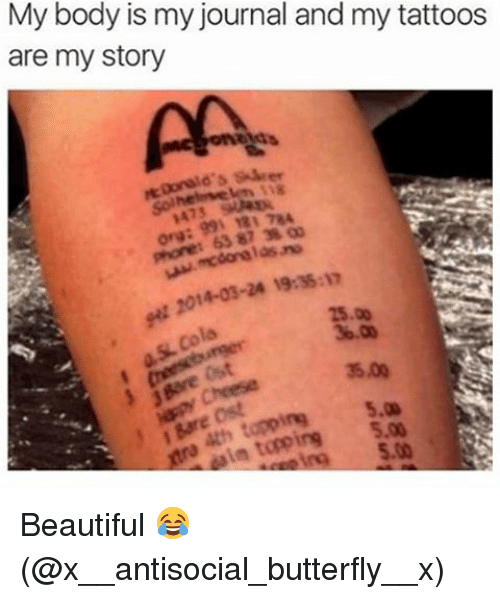 Antisociable: My body is my journal and my tattoos  are my story  AA  14-03-24 1935:17  15.00  Bare tapping 5.00 Beautiful 😂 (@x__antisocial_butterfly__x)