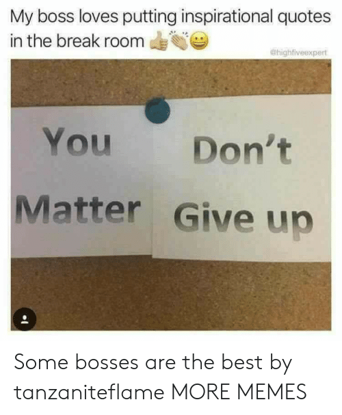 Dank, Memes, and Target: My boss loves putting inspirational quotes  in the break room  @highfiveexpert  You  Don't  Matter Give up Some bosses are the best by tanzaniteflame MORE MEMES