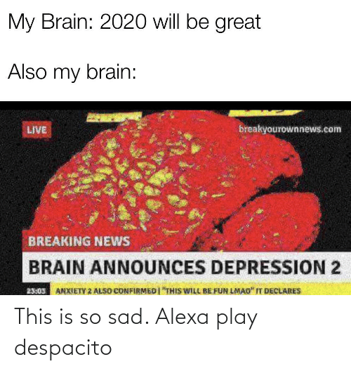 "This Is So Sad Alexa Play Despacito: My Brain: 2020 will be great  Also my brain:  breakyourownnews.com  LIVE  BREAKING NEWS  BRAIN ANNOUNCES DEPRESSION 2  ANXIETY 2 ALSO CONFIRMEDI ""THIS WILL BE FUN LMAO"" IT DECLARES  23:05 This is so sad. Alexa play despacito"