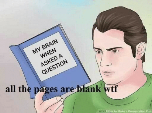 pages: MY BRAIN  WHEN  ASKED A  QUESTION  all the pages are blank wtf  wili How to Make a Presentation Fun