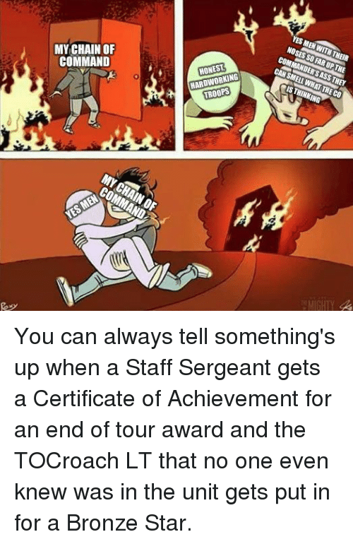 Star, The Unit, and Can: MY CHAIN OF  COMMAND  HONEST  HARDWORKING  TROOPS You can always tell something's up when a Staff Sergeant gets a Certificate of Achievement for an end of tour award and the TOCroach LT that no one even knew was in the unit gets put in for a Bronze Star.