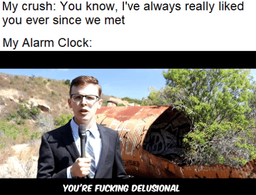 clock: My crush: You know, I've always really liked  you ever since we met  My Alarm Clock:  FEP  YOU'RE FUCKING DELUSIONAL