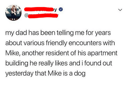 Dad, Been, and Another: my dad has been telling me for years  about various friendly encounters with  Mike, another resident of his apartment  building he really likes and i found out  yesterday that Mike is a dog