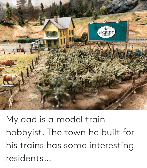 model: My dad is a model train hobbyist. The town he built for his trains has some interesting residents…
