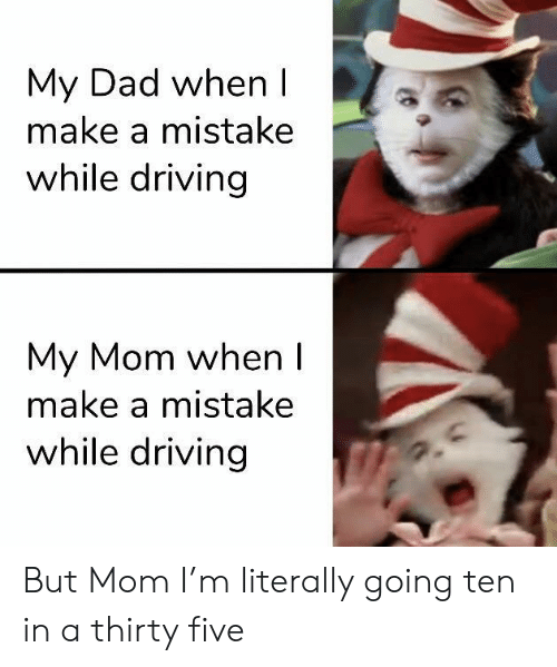 Dad, Driving, and Mom: My Dad when I  make a mistake  while driving  My Mom when I  make a mistake  while driving But Mom I'm literally going ten in a thirty five