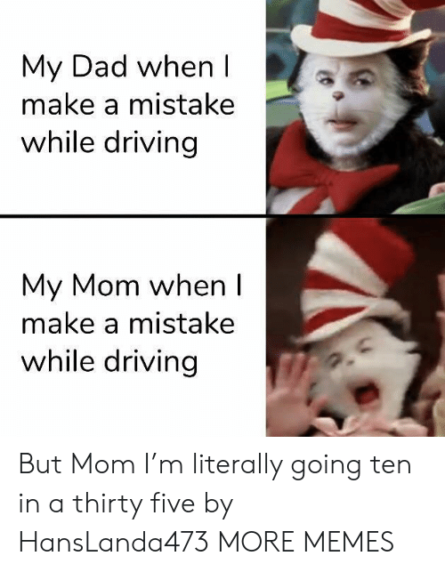 Dad, Dank, and Driving: My Dad when I  make a mistake  while driving  My Mom when I  make a mistake  while driving But Mom I'm literally going ten in a thirty five by HansLanda473 MORE MEMES