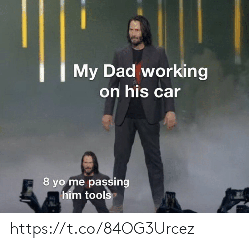 Dad, Memes, and Yo: My Dad working  on his car  8 yo me passing  him tools https://t.co/84OG3Urcez